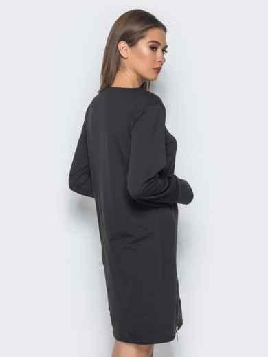 09c56e372361 Платье-туника с функциональной молнией снизу черное 15678