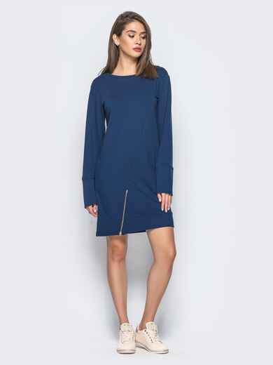 Платье-туника с функциональной молнией снизу тёмно-синее 15676, фото 1