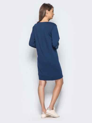 Платье-туника с функциональной молнией снизу тёмно-синее - 15676, фото 2 – интернет-магазин Dressa
