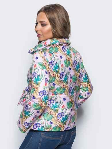 Принтованная куртка на запах с завязками сбоку розовая - 15660, фото 2 – интернет-магазин Dressa
