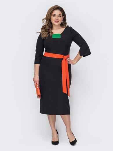 Приталенное платье большого размера с V-образным вырезом черное 53622, фото 1