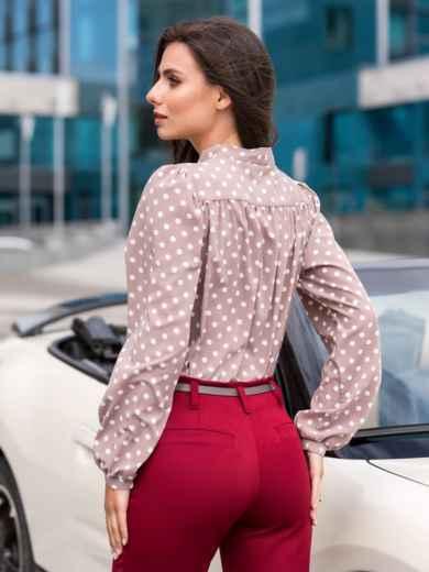 Пудровая блузка в горох с воротником-аскот - 39850, фото 2 – интернет-магазин Dressa