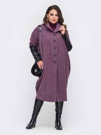 Розовое пальто большого размера с рукавами из эко-кожи 50997, фото 1