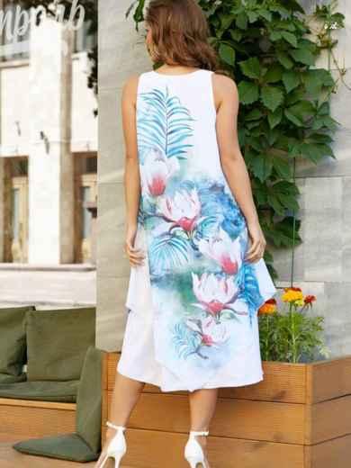 Шифоновое платье с ассиметричным низом и голубым принтом - 11621, фото 3 – интернет-магазин Dressa