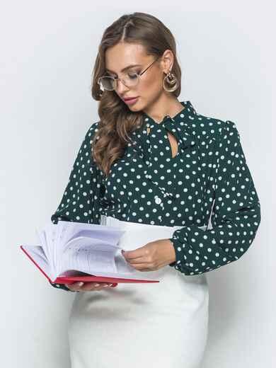 Зеленая блузка в горох с воротником-аскот 39851, фото 1