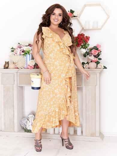 Желтое платье на запах большого размера с принтом 47788, фото 1