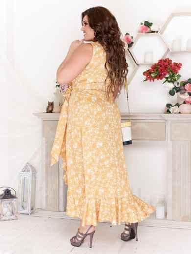 Желтое платье на запах большого размера с принтом 47788, фото 2