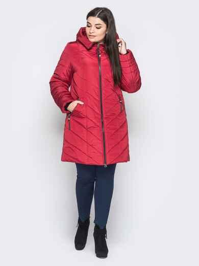 Зимняя куртка с карманами на молнии бордовая - 18259, фото 1 – интернет-магазин Dressa