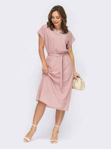 Розовое платье в горох с коротким рукавом и резинкой в поясе 54317, фото 1