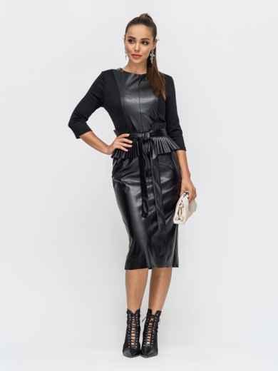 Комбинированное платье чёрного цвета с баской 50243, фото 1