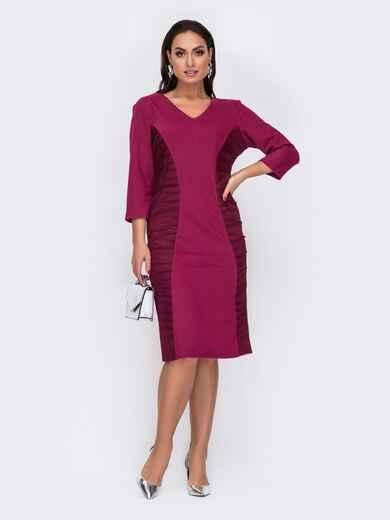 Бордовое платье-футляр большого размера с V-образным вырезом 52041, фото 1
