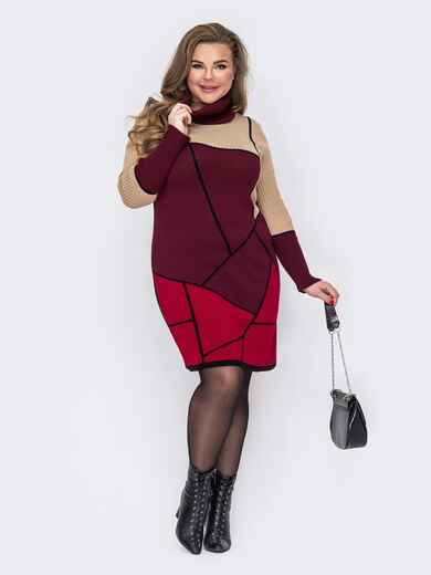Бордовое вязаное платье батал с геометрическими узорами 52927, фото 1