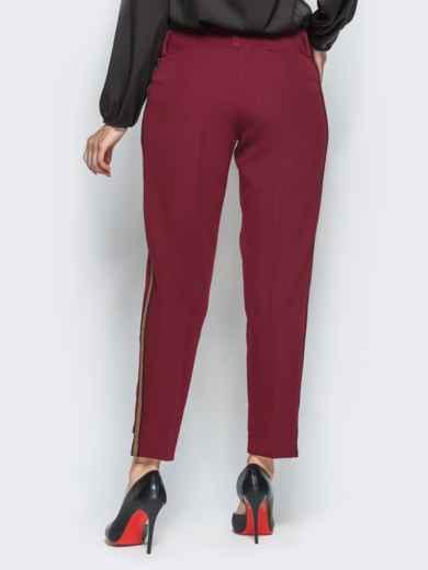 Брюки бордового цвета с укороченным передом - 16314, фото 3 – интернет-магазин Dressa