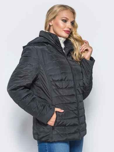 Черная демисезонная куртка батал с съемным капюшоном - 14711, фото 2 – интернет-магазин Dressa