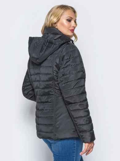 Черная демисезонная куртка батал с съемным капюшоном - 14711, фото 3 – интернет-магазин Dressa