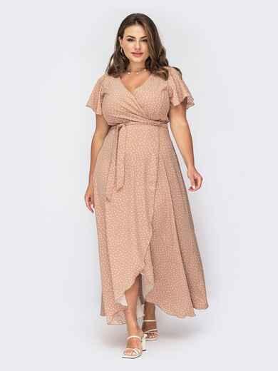 Длинное платье бежевого цвета на запах в горох 53897, фото 1