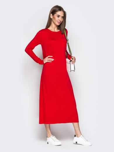 Длинное платье-трапеция с накладным карманом красное - 20652, фото 2 – интернет-магазин Dressa