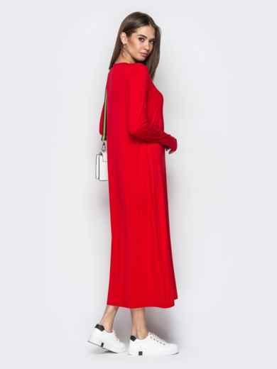 Длинное платье-трапеция с накладным карманом красное - 20652, фото 3 – интернет-магазин Dressa