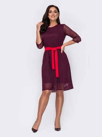 Двухслойное платье батал в полоску бордовое 52137, фото 1