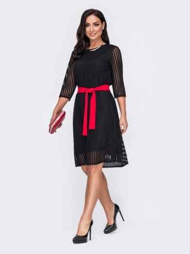 Двухслойное платье батал в полоску черное 52135, фото 2