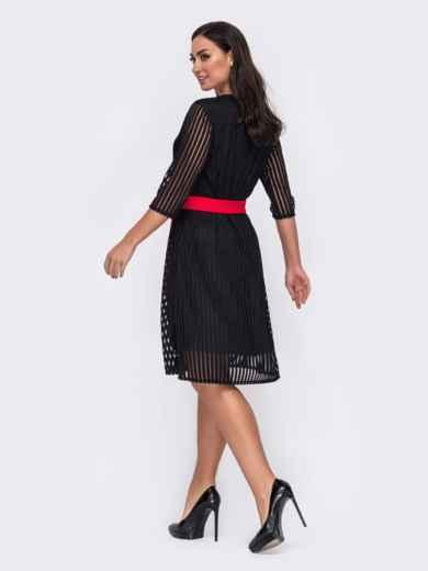 Двухслойное платье батал в полоску черное 52135, фото 3