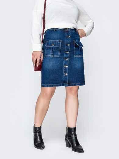Джинсовая юбка на пуговицах и накладными карманами синяя 41911, фото 1
