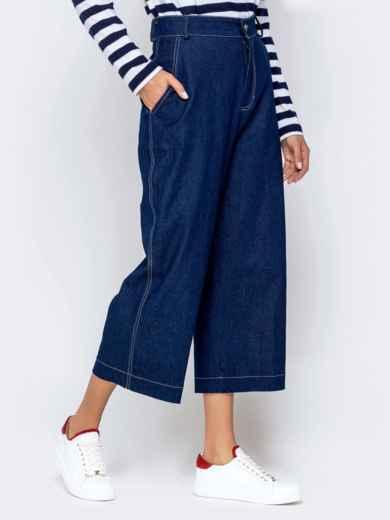 Джинсовые брюки-кюлоты с завышенной талией синие 40986, фото 2