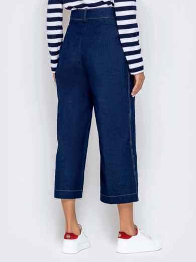 Джинсовые брюки-кюлоты с завышенной талией синие 40986, фото 3