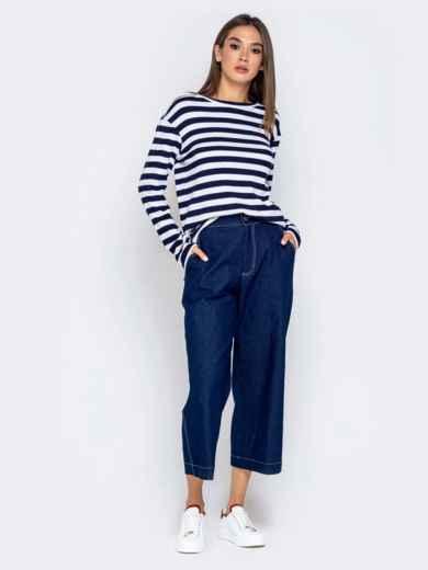 Джинсовые брюки-кюлоты с завышенной талией синие 40986, фото 4