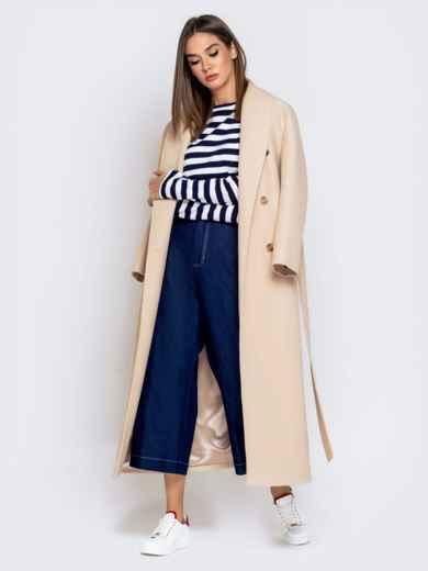Джинсовые брюки-кюлоты с завышенной талией синие 40986, фото 5