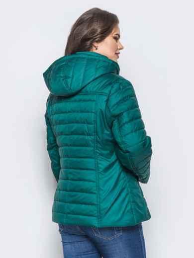 Изумрудная демисезонная куртка батал с съемным капюшоном - 14714, фото 3 – интернет-магазин Dressa