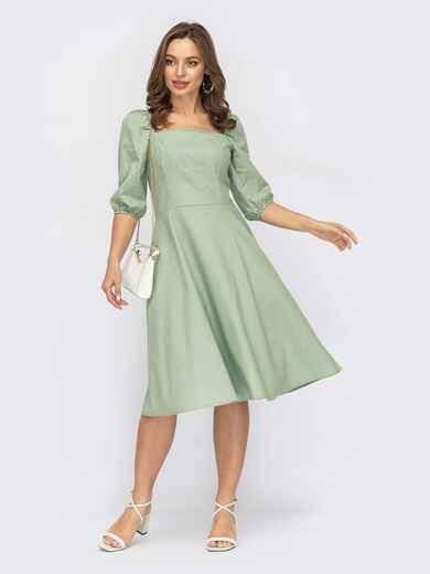 """Мятное платье с рукавами-фонариками и вырезом """"каре"""" 53814, фото 1"""