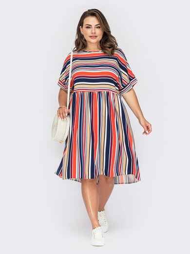 Платье в полоску с расклешенной юбкой и коротким рукавом. 53970, фото 1