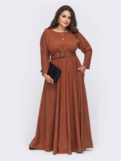 Расклешенное платье-макси большого размера коричневое 51013, фото 2