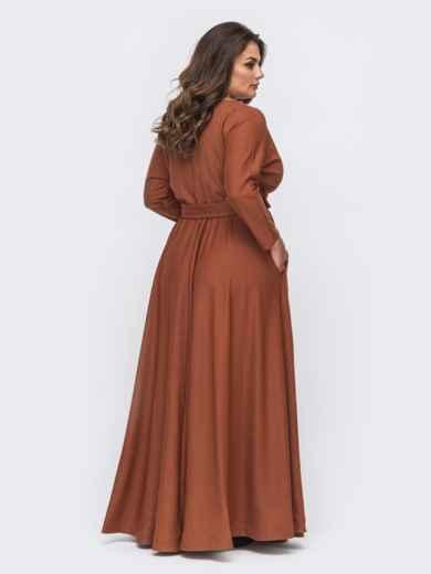 Расклешенное платье-макси большого размера коричневое 51013, фото 3