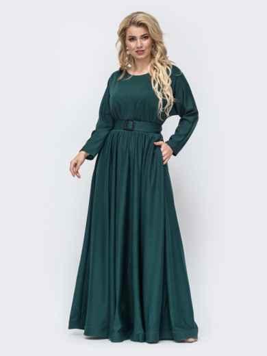 Расклешенное платье-макси большого размера зеленое 51014, фото 2
