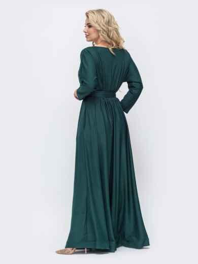 Расклешенное платье-макси большого размера зеленое 51014, фото 3