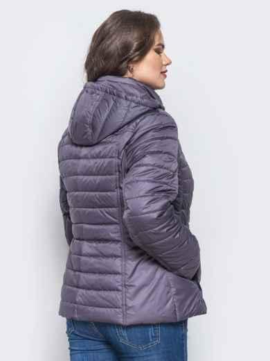 Серая демисезонная куртка батал с съемным капюшоном - 14715, фото 2 – интернет-магазин Dressa