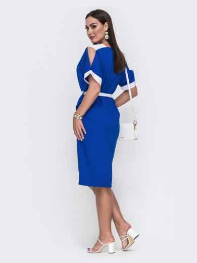 Синее платье батал с контрастными вставками и перфорацией 49732, фото 2