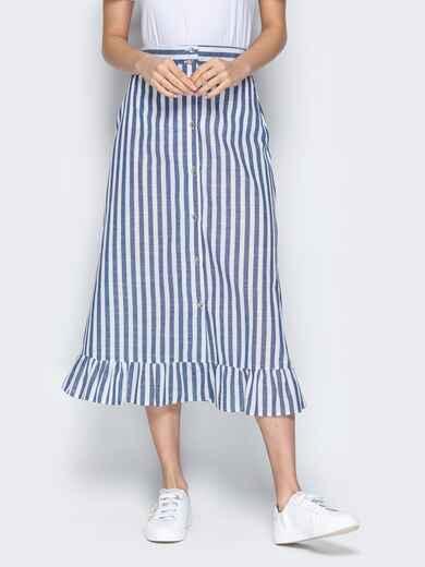 Тёмно-синяя юбка в полоску на пуговицах с воланом по низу - 20501, фото 1 – интернет-магазин Dressa