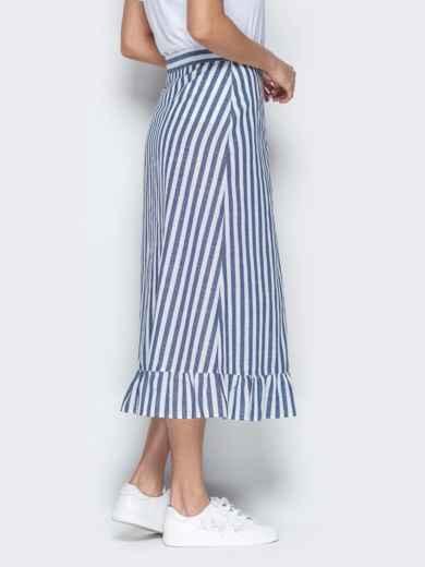 Тёмно-синяя юбка в полоску на пуговицах с воланом по низу - 20501, фото 3 – интернет-магазин Dressa