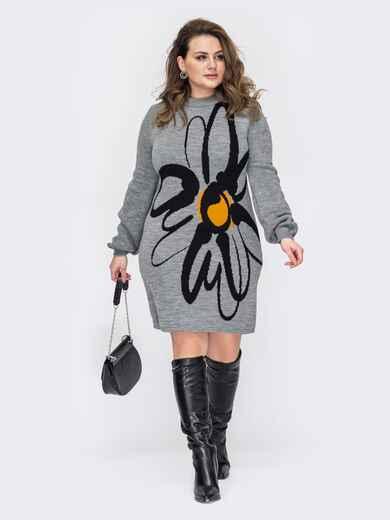 Вязаное платье батал с узором контрастного цвета серое 52929, фото 1