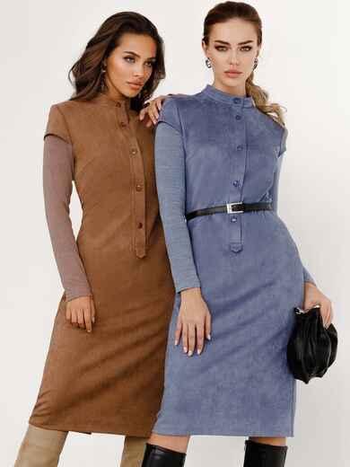 Замшевое платье приталенного кроя с рукавами из ангоры голубое 52545, фото 1