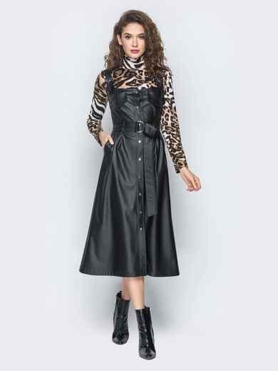 Черный кожаный сарафан с застежкой на кнопки - 18667, фото 1 – интернет-магазин Dressa