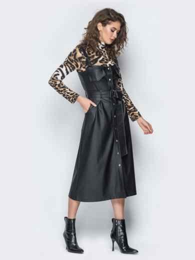 Черный кожаный сарафан с застежкой на кнопки - 18667, фото 2 – интернет-магазин Dressa