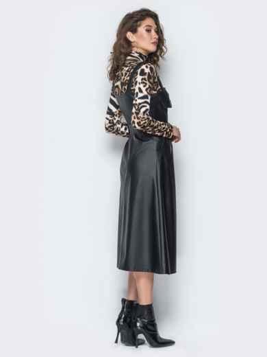 Черный кожаный сарафан с застежкой на кнопки - 18667, фото 3 – интернет-магазин Dressa