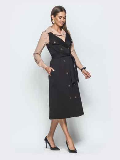 Двубортный сарафан приталенного кроя чёрный - 39937, фото 2 – интернет-магазин Dressa