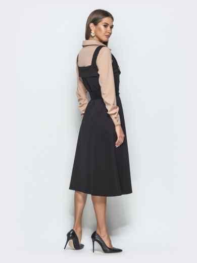 Двубортный сарафан приталенного кроя чёрный - 39937, фото 3 – интернет-магазин Dressa