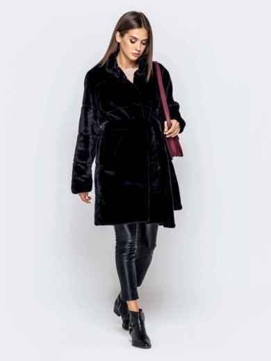 Искусственная шуба чёрного цвета с воротником-стойкой - 40182, фото 2 – интернет-магазин Dressa