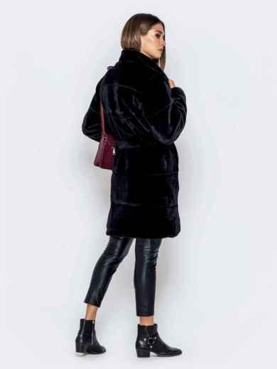 Искусственная шуба чёрного цвета с воротником-стойкой - 40182, фото 3 – интернет-магазин Dressa